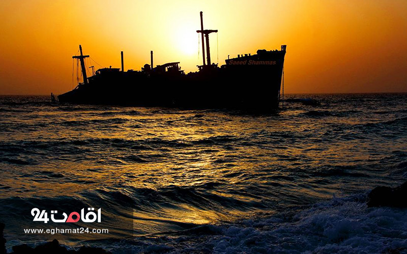 غروب ساحل کشتی یونانی کیش