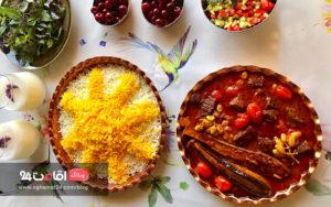غذای ایرانی خورشت گوشت و بادمجان